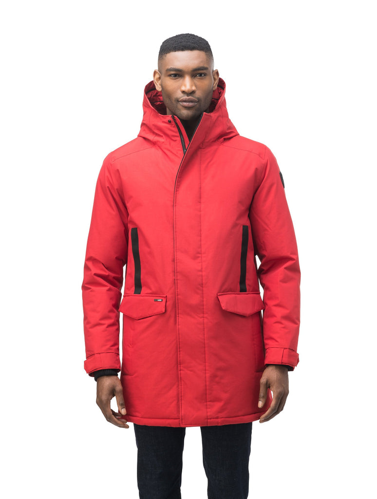 Lightweight men's parka with duck down fill and removable fur trim around the hood in Vermillion| color
