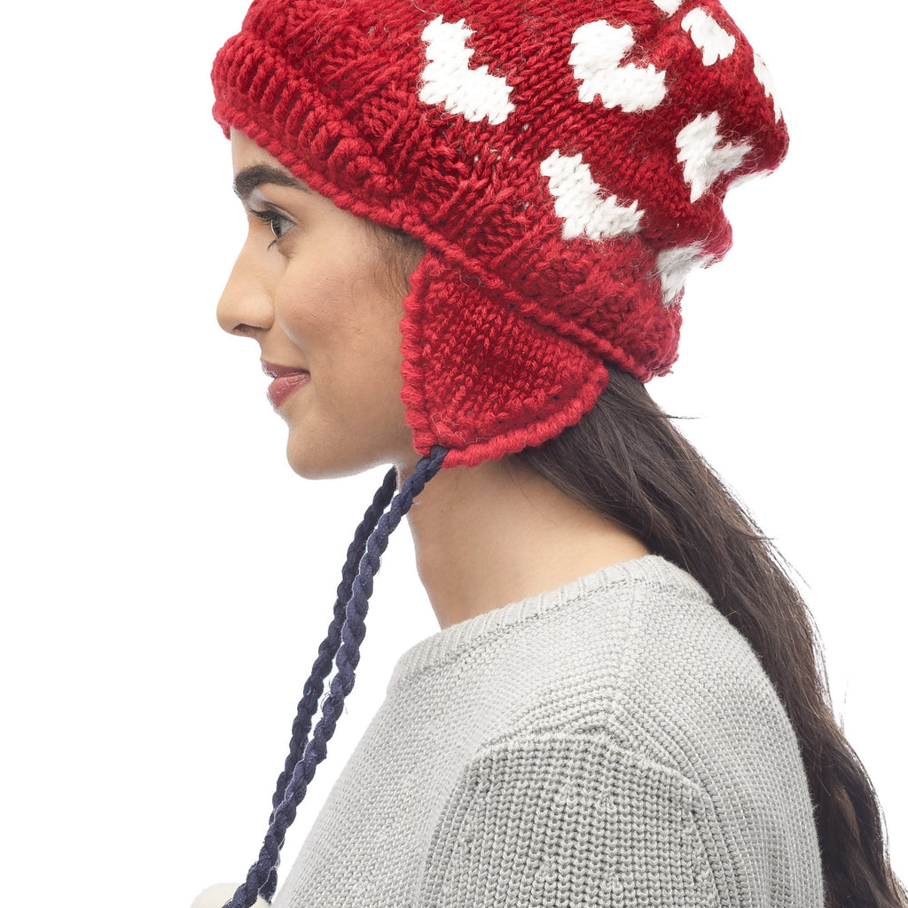 Knit beanie in Red | color