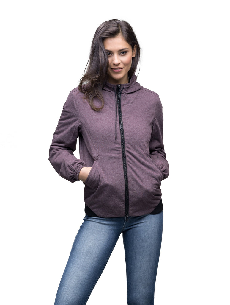 Women's lightweight jersey down filled jacket in Maroon| color