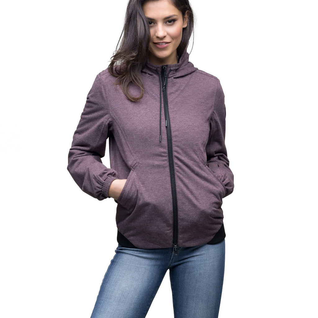 Women's lightweight jersey down filled jacket in Maroon | color