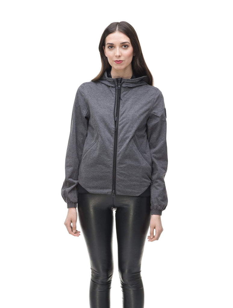 Women's lightweight jersey down filled jacket in Charcoal| color