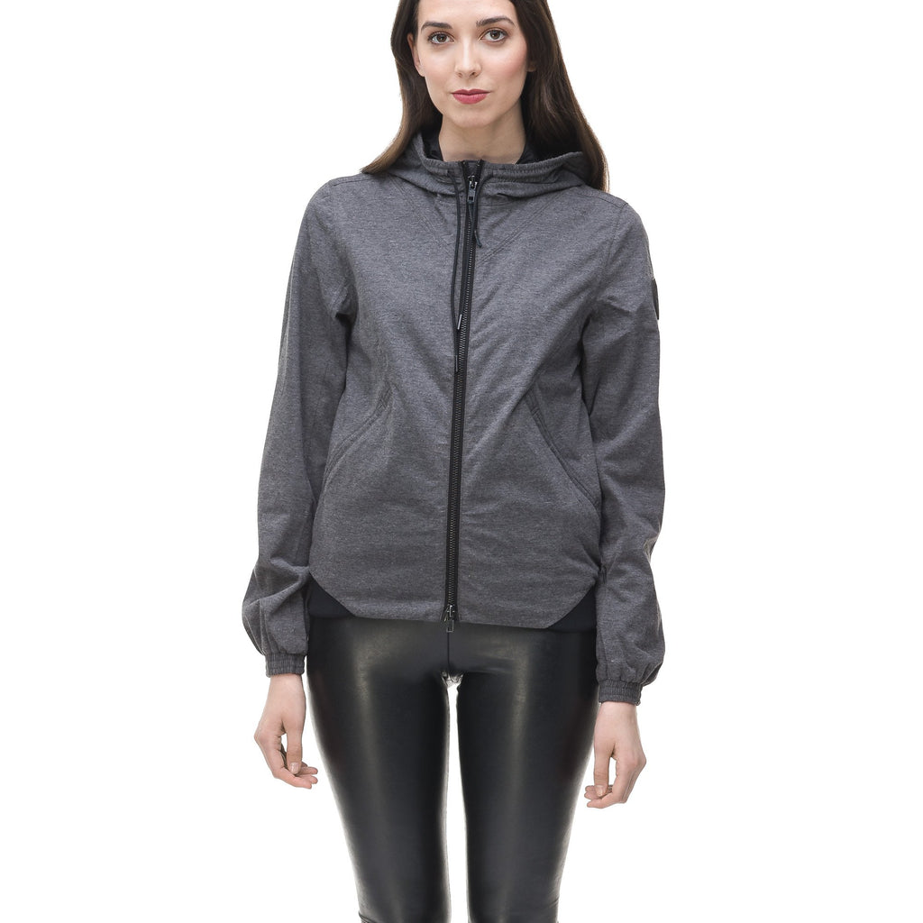 Women's lightweight jersey down filled jacket in Charcoal | color