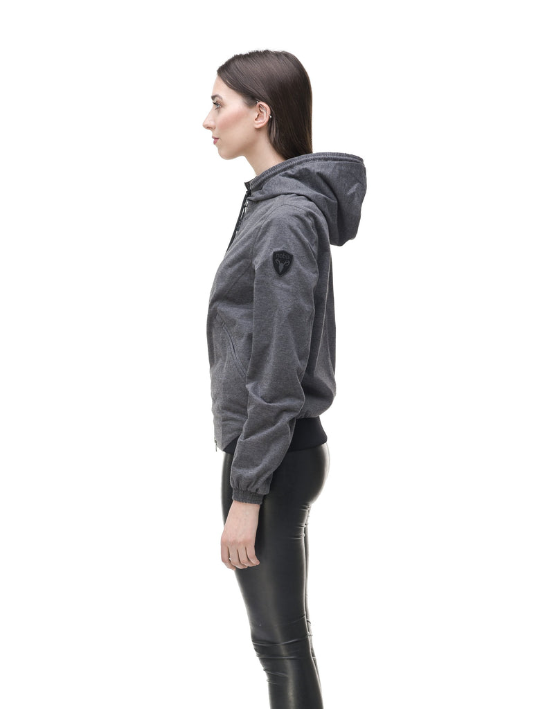 Women's lightweight jersey down filled jacket in Charcoal, or Black| color
