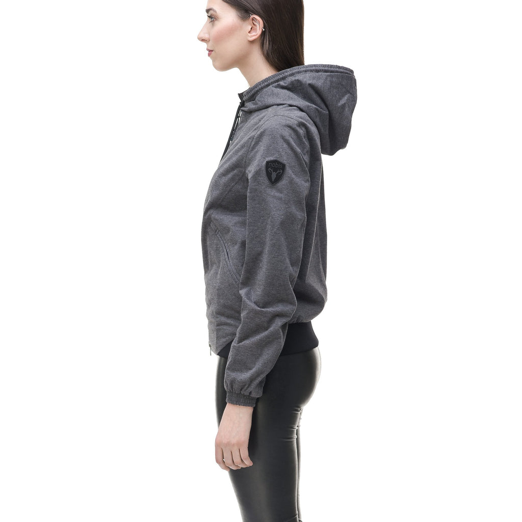 Women's lightweight jersey down filled jacket in Charcoal, or Black | color