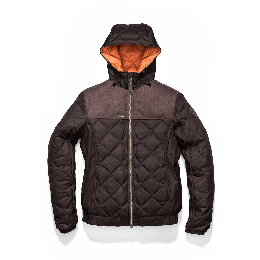 Men's lightweight quilted down hoodie in Dark Brown and H. Burgundy | color