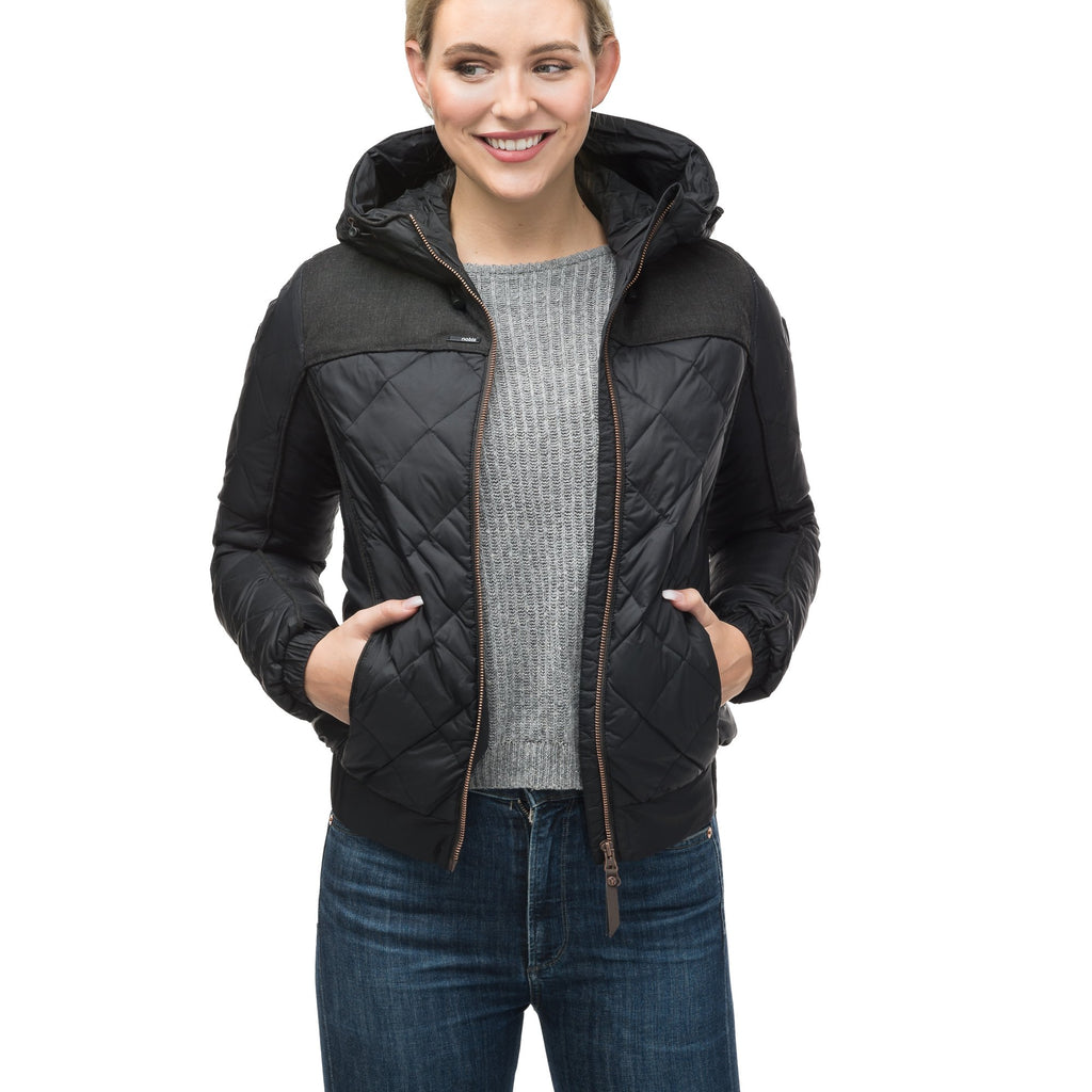 Lightweight women's jacket with hood and quilted pattern featuring a contrasting upper fabric in Black | color