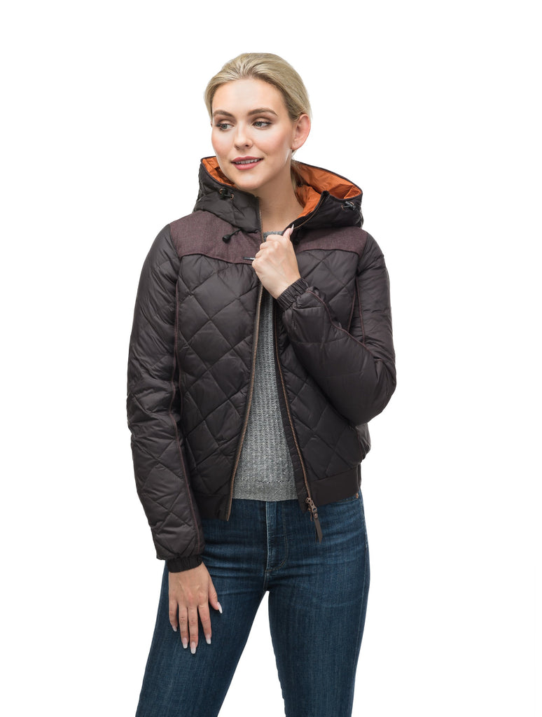 Lightweight women's jacket with hood and quilted pattern featuring a contrasting upper fabric in Dark Brown| color