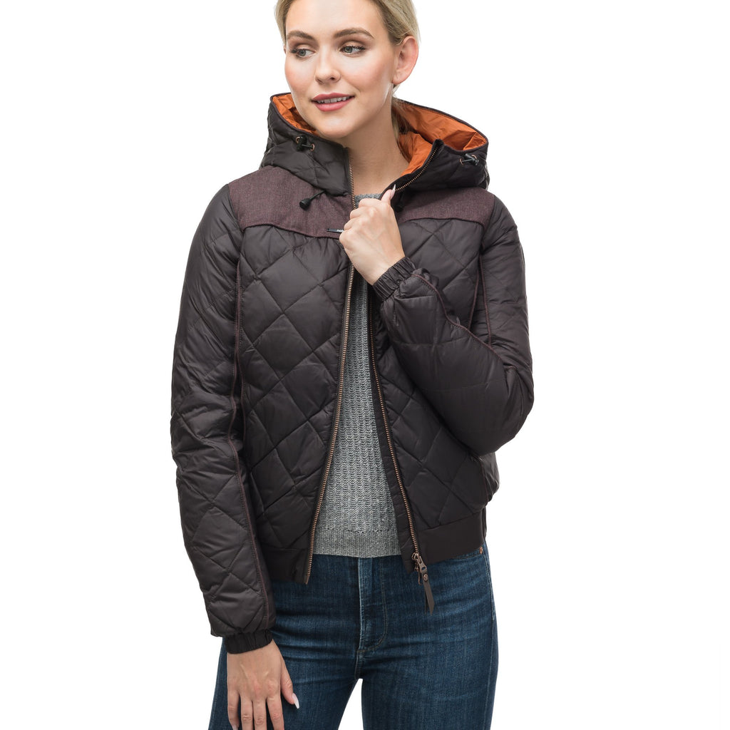 Lightweight women's jacket with hood and quilted pattern featuring a contrasting upper fabric in Dark Brown | color