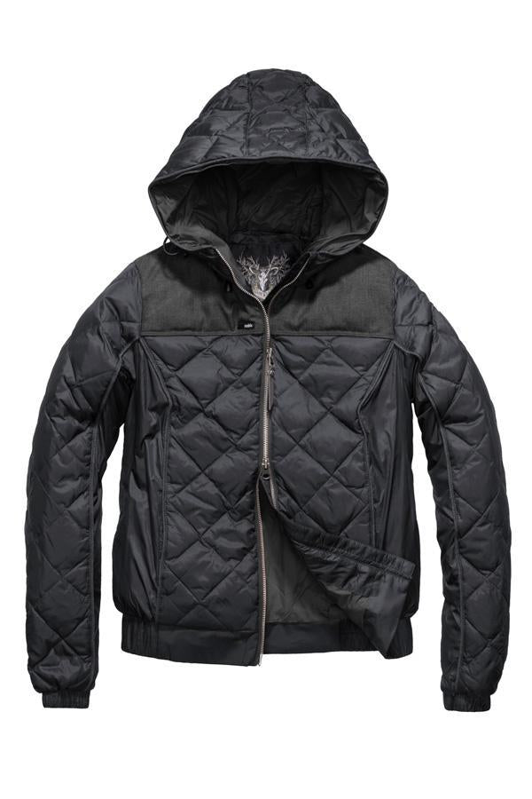 Lightweight women's jacket with hood and quilted pattern featuring a contrasting upper fabric in Black| color