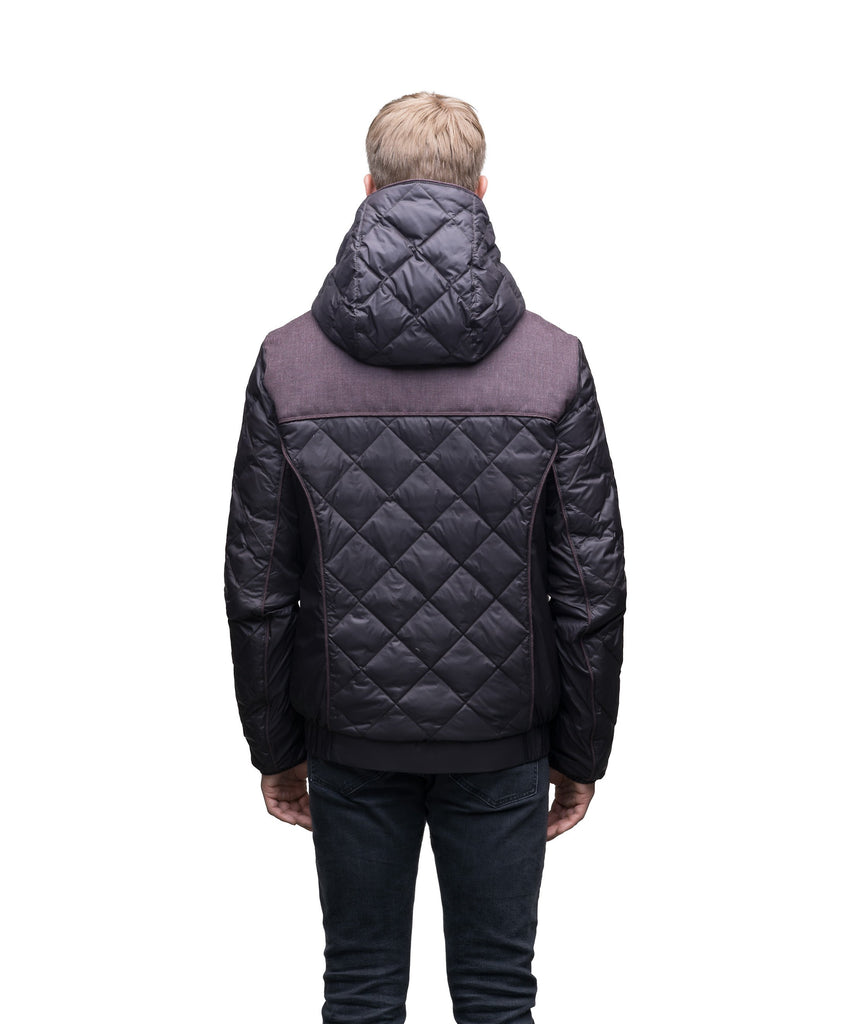Men's lightweight quilted down hoodie in Dark Brown and H. Burgundy| color