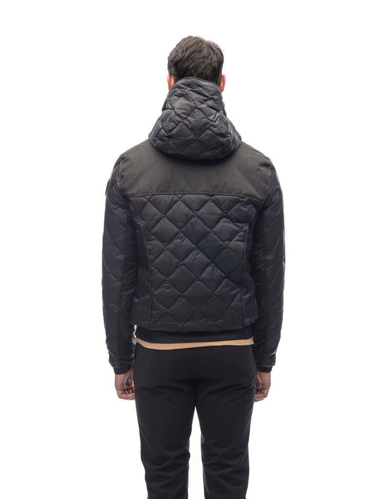 Men's lightweight quilted down hoodie in Black and H. Black| color