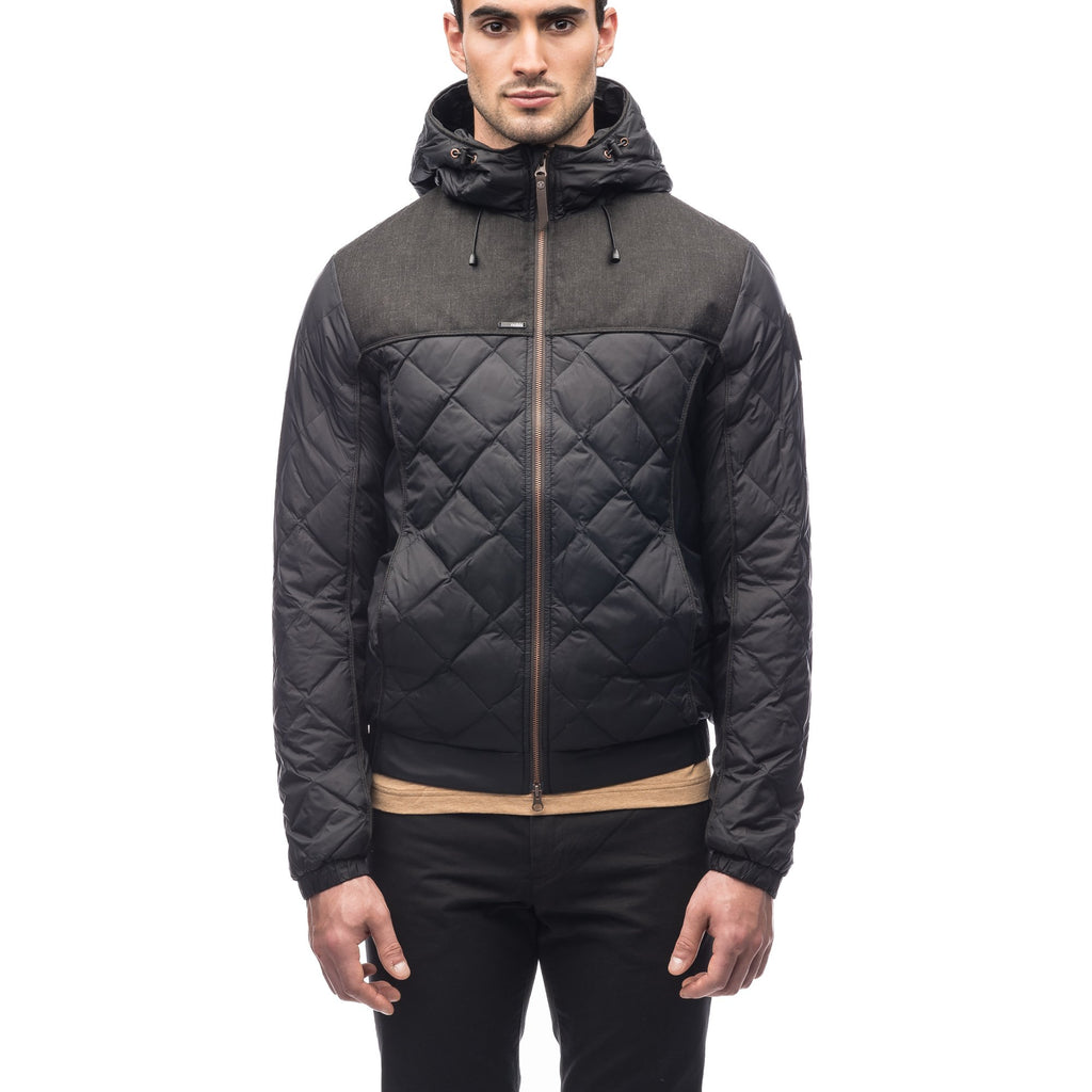 Men's lightweight quilted down hoodie in Black and H. Black | color