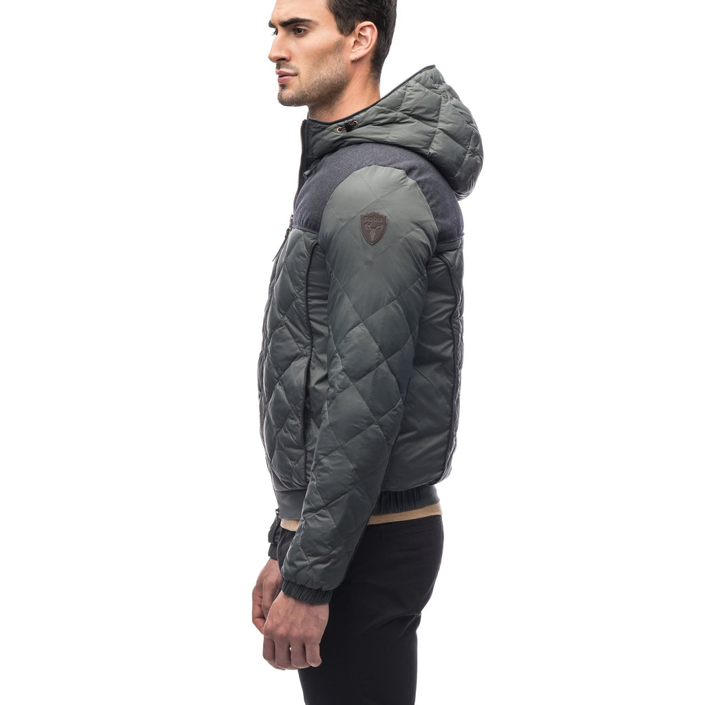 Men's lightweight quilted down hoodie in Foggy Blue and H. Navy | color