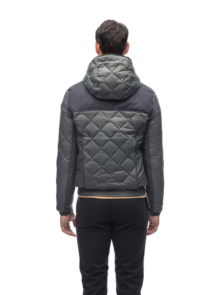 Men's lightweight quilted down hoodie in Foggy Blue and H. Navy| color