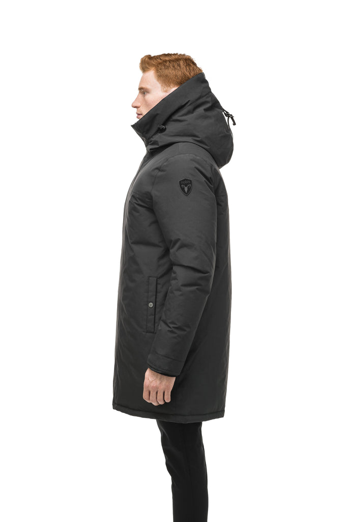 Classic men's down filled parka with attached fur free hood in Black| color