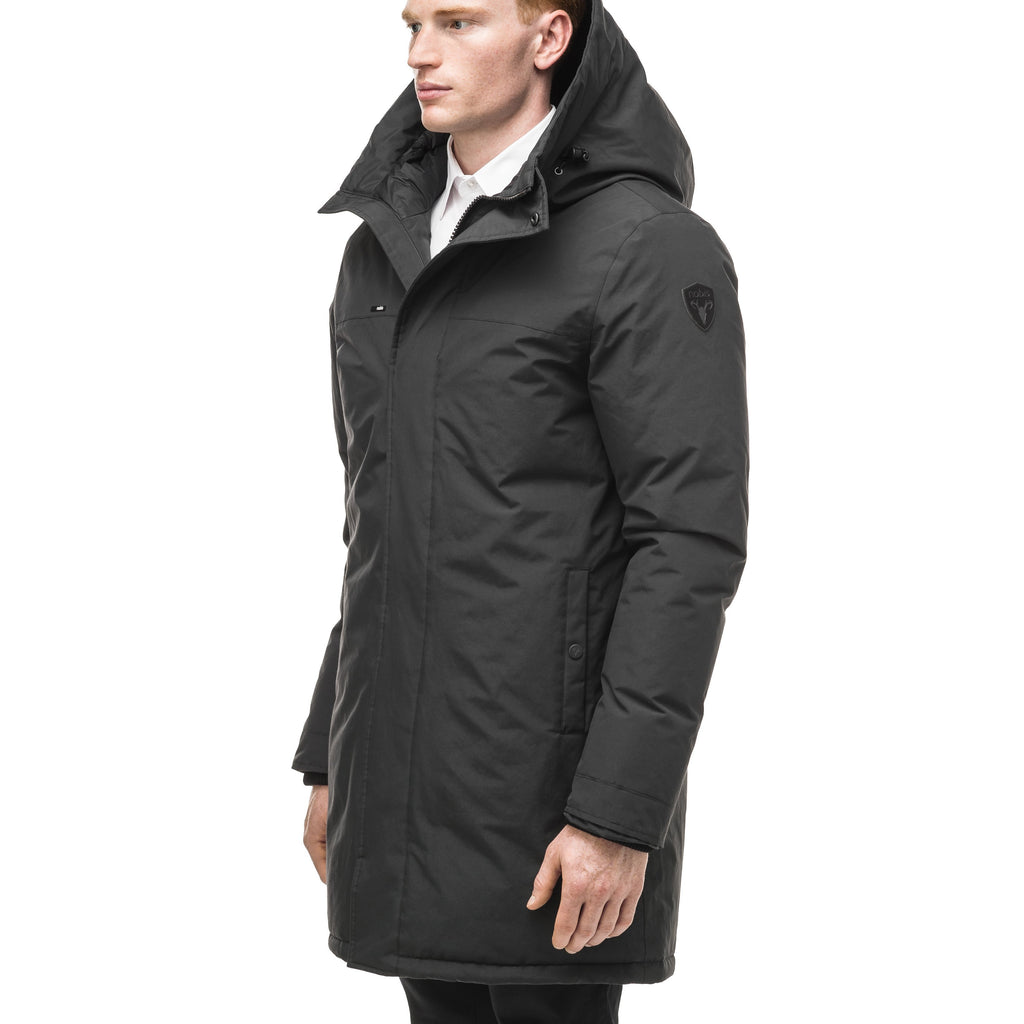 Classic men's down filled parka with attached fur free hood in Black | color