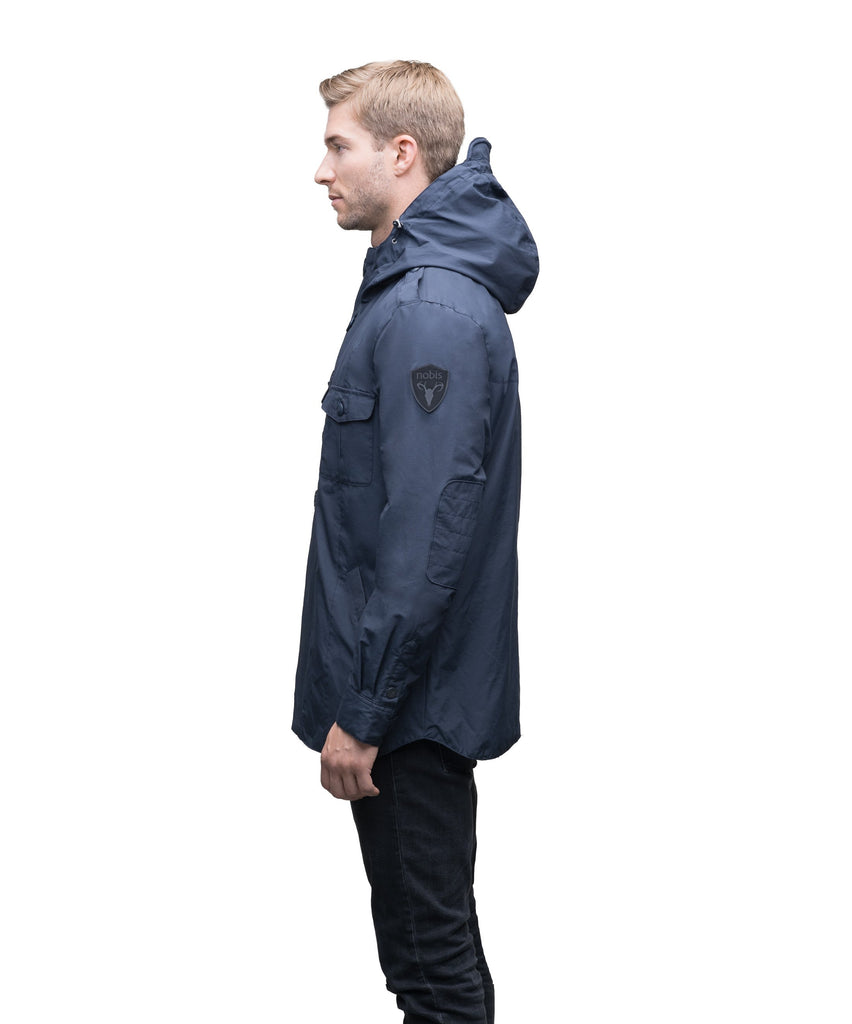 Men's hooded shirt jacket with patch chest pockets in Navy| color