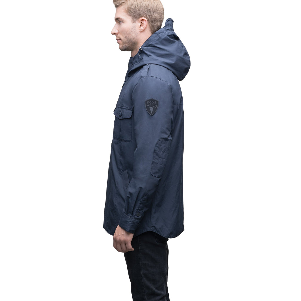 Men's hooded shirt jacket with patch chest pockets in Navy | color