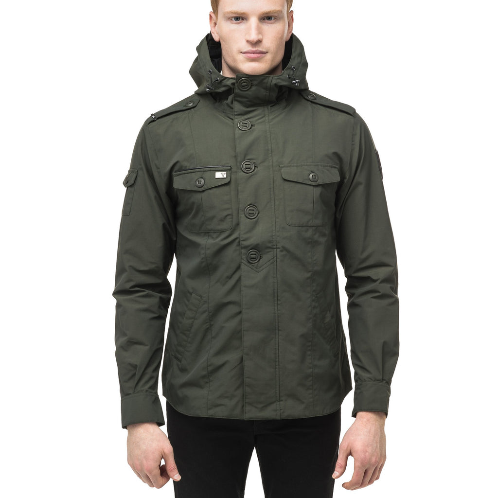 Men's hooded shirt jacket with patch chest pockets in Dark Forest | color