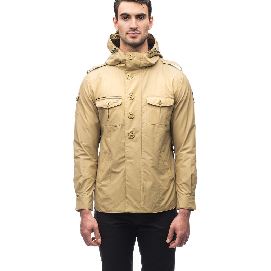 Men's hooded shirt jacket with patch chest pockets in Tan | color