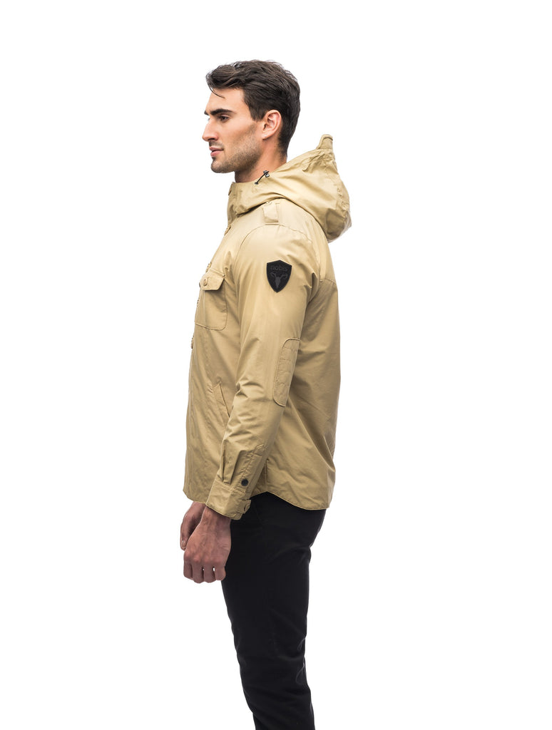 Men's hooded shirt jacket with patch chest pockets in Tan| color