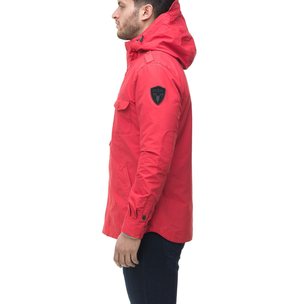 Men's hooded shirt jacket with patch chest pockets in Red, Light Grey, Black, or Fatigue | color