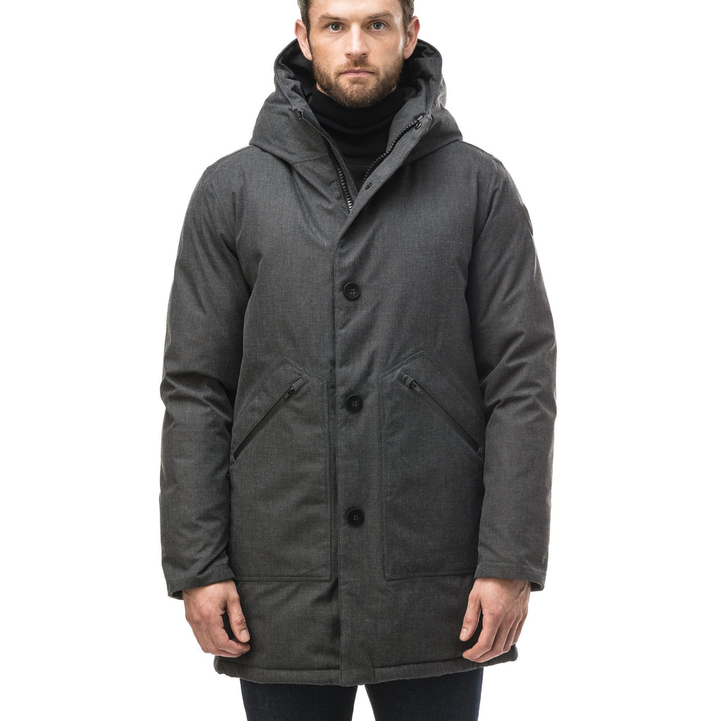 Men's fur free hooded parka with zipper and button closure placket featuring two oversized front pockets in H. Charcoal | color