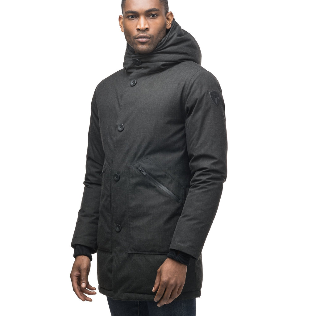 Men's fur free hooded parka with zipper and button closure placket featuring two oversized front pockets in H. Black | color