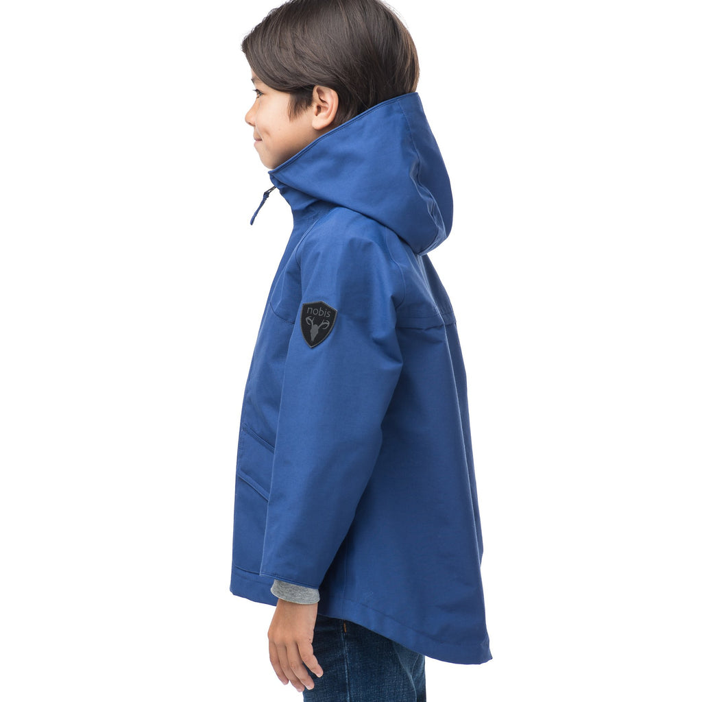 Kid's hip length fishtail rain jacket with hood in Royal | color