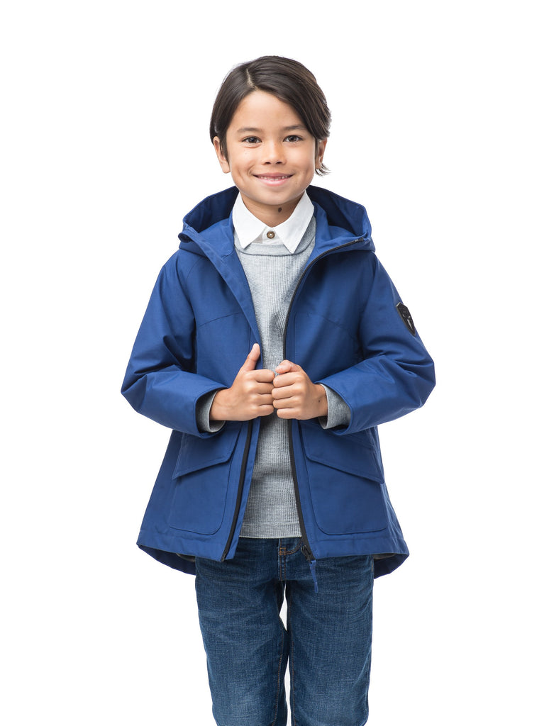 Kid's hip length fishtail rain jacket with hood in Royal| color