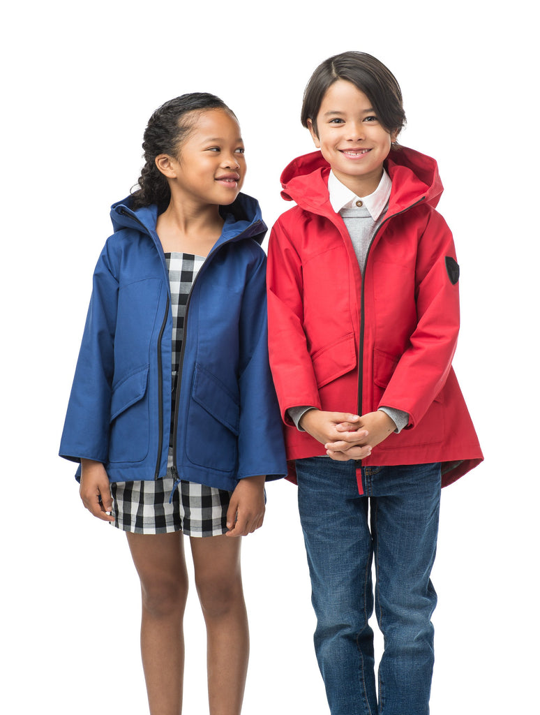 Kid's hip length fishtail rain jacket with hood in Royal, or Red| color