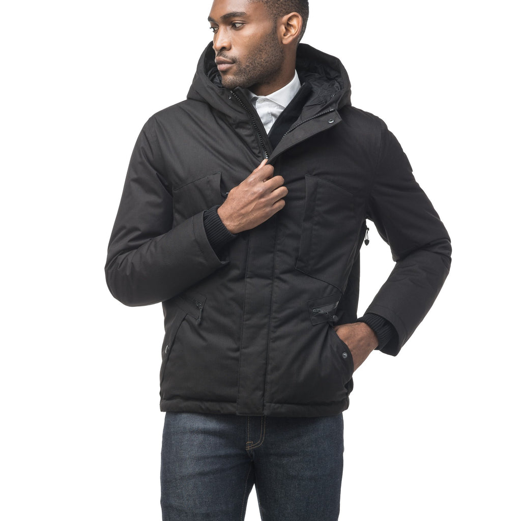 Men's waist length light down coat equipped with six exterior pockets and a hood in Black | color