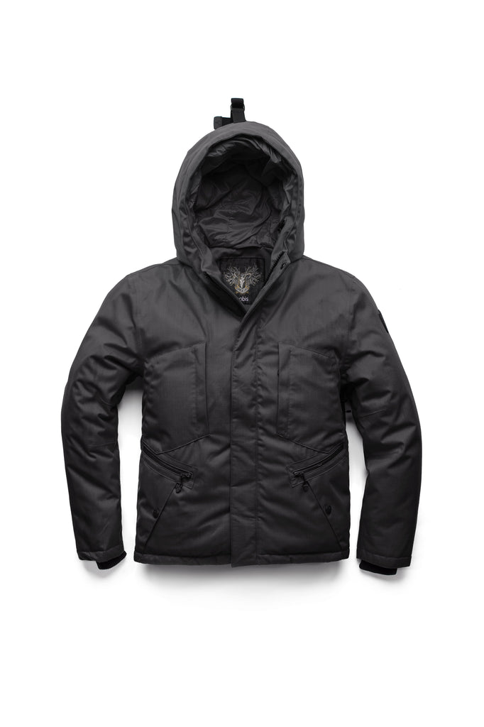 Men's waist length light down coat equipped with six exterior pockets and a hood in Black| color