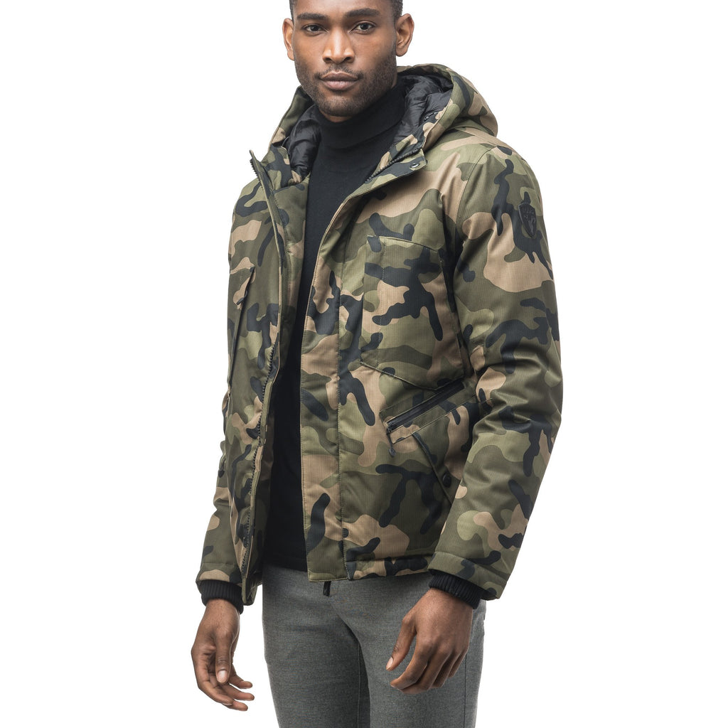 Men's waist length light down coat equipped with six exterior pockets and a hood in Camo | color