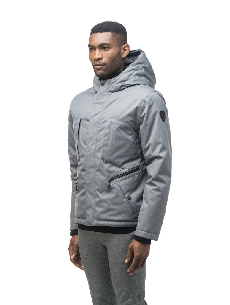 Men's waist length light down coat equipped with six exterior pockets and a hood in Concrete| color