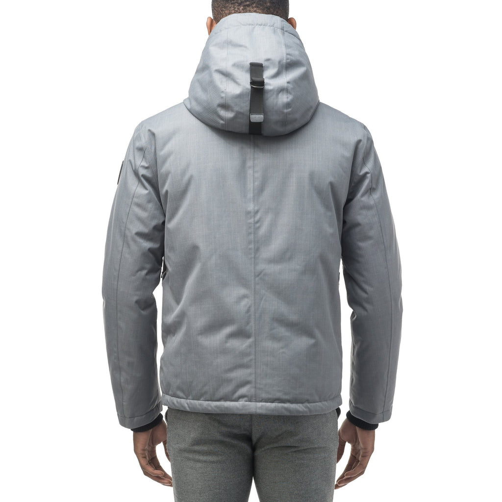 Men's waist length light down coat equipped with six exterior pockets and a hood in Concrete | color