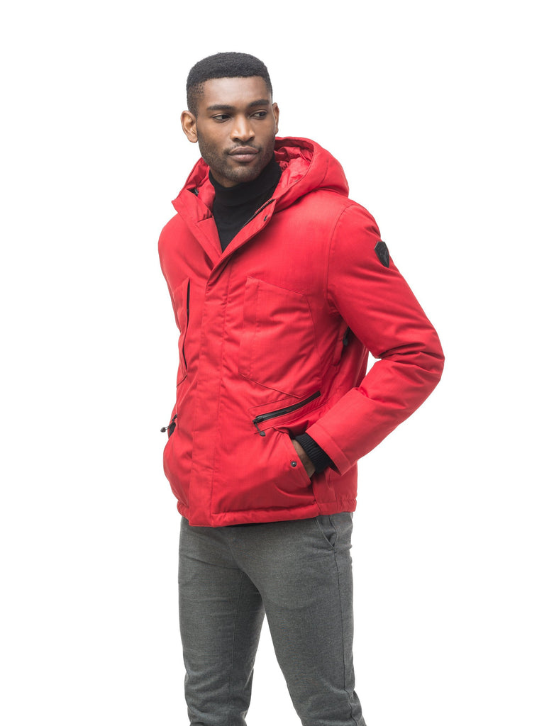 Men's waist length light down coat equipped with six exterior pockets and a hood in Red| color