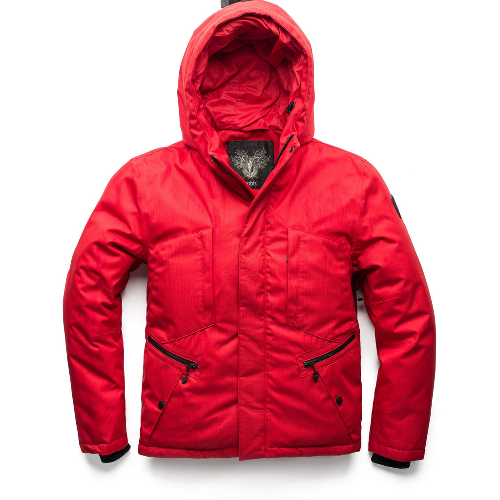 Men's waist length light down coat equipped with six exterior pockets and a hood in Red | color
