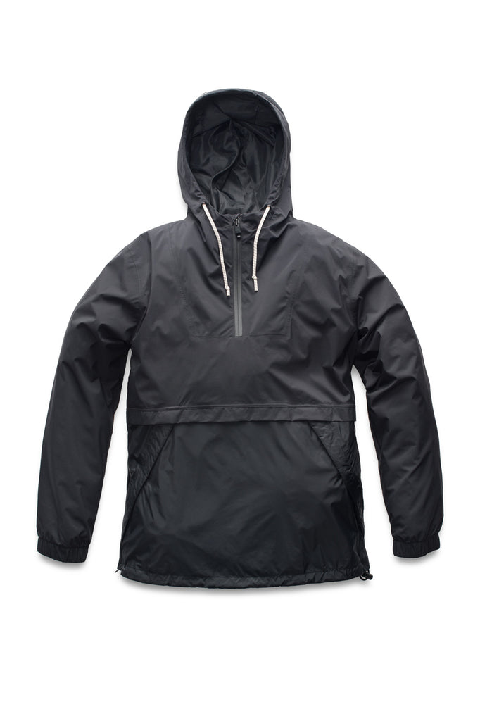 Men's hip length hooded pullover anorak with zipper at collar in Black| color