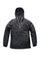 Men's hip length hooded pullover anorak with zipper at collar in Black | color
