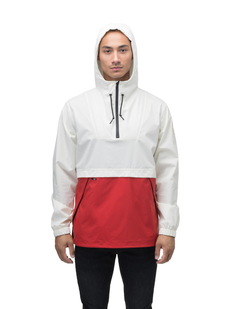 Men's hip length hooded pullover anorak with zipper at collar in Chalk/Vermillion| color