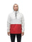 Men's hip length hooded pullover anorak with zipper at collar in Chalk/Vermillion | color