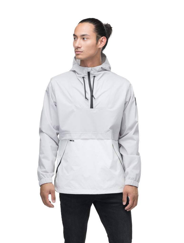 Men's hip length hooded pullover anorak with zipper at collar in Light Grey/Chalk| color