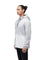 Men's hip length hooded pullover anorak with zipper at collar in Light Grey/Chalk | color