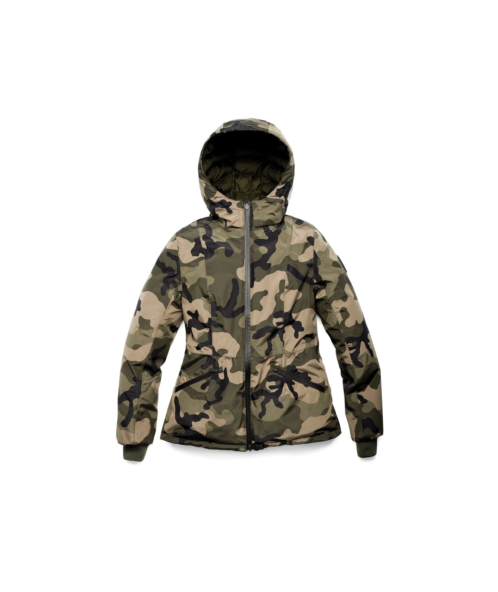 A women's two in one reversible hip length down jacket, one side is quilted and one side is solid waterproof fabric in Camo