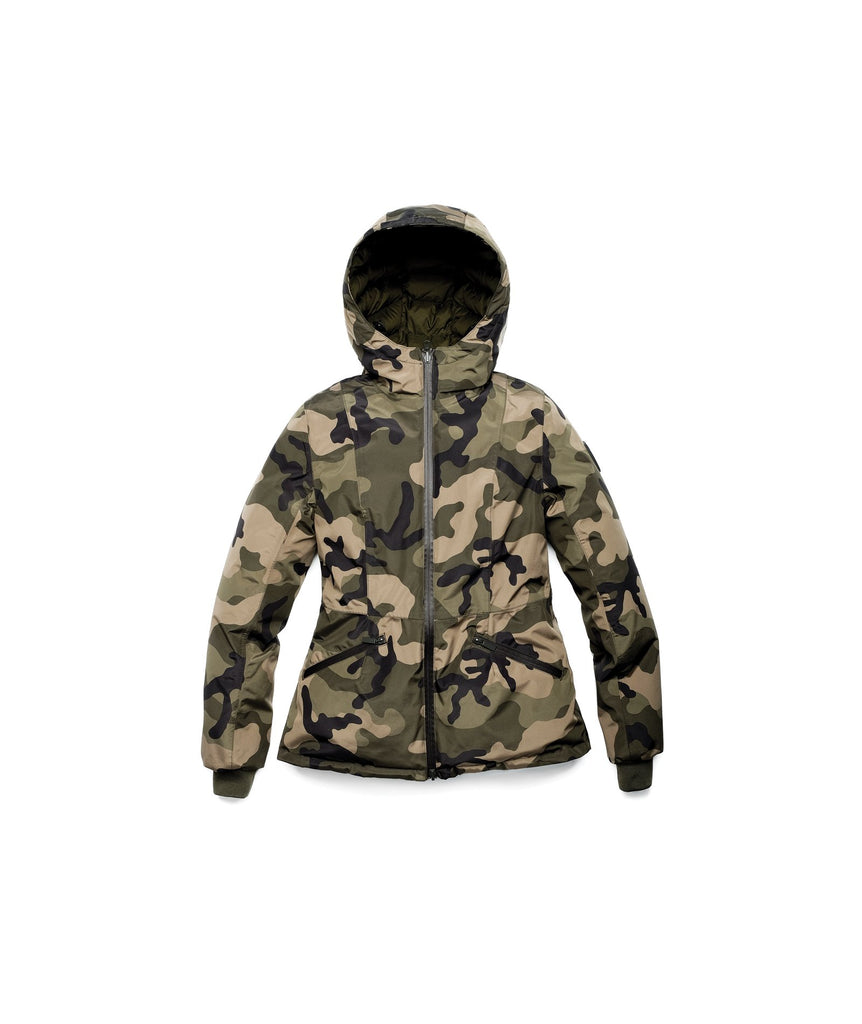 A women's two in one reversible hip length down jacket, one side is quilted and one side is solid waterproof fabric in Camo| color