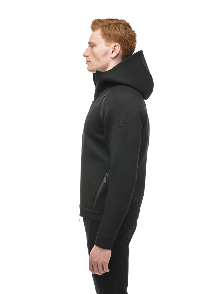 Men's premium rayon polyamide bonded jersey fabrication hoodie with exposed zipper in Black| color