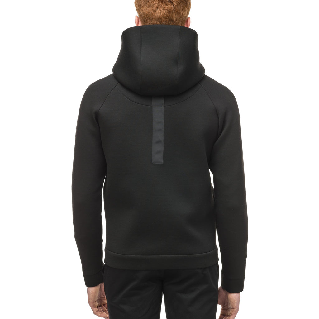 Men's premium rayon polyamide bonded jersey fabrication hoodie with exposed zipper in Black | color
