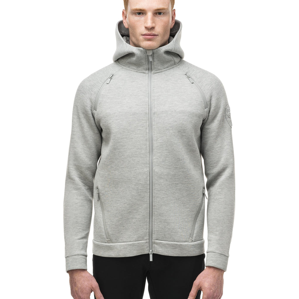 Men's premium rayon polyamide bonded jersey fabrication hoodie with exposed zipper in Grey Melange | color