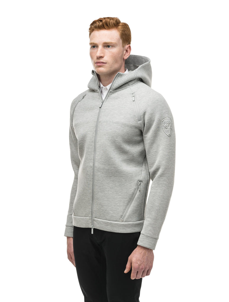 Men's premium rayon polyamide bonded jersey fabrication hoodie with exposed zipper in Grey Melange| color